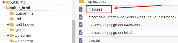 ubicación del archivo .htaccess