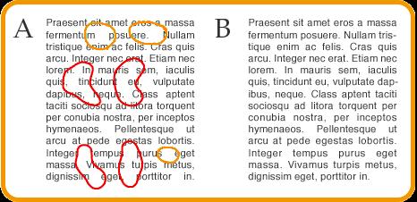 La justificación del navegador vs la de un programa de diseño grafico